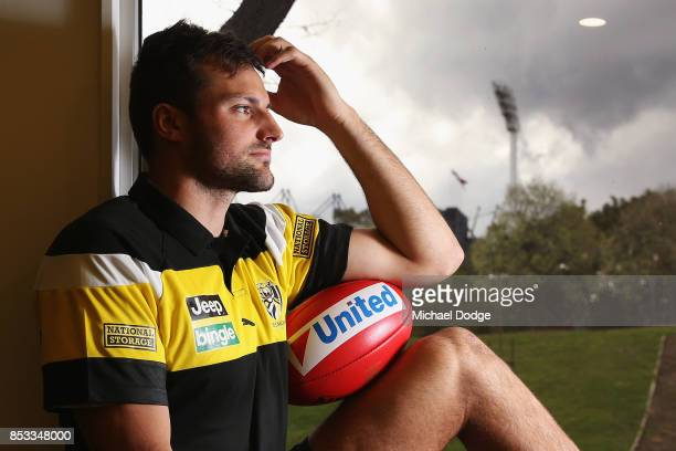 Toby Nankervis poses in front of the MCG light tower during a Richmond Tigers AFL media oportunity at Punt Road Oval on September 25 2017 in...