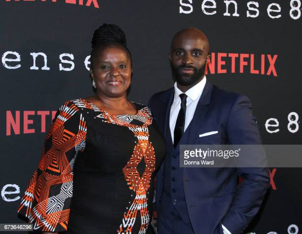 Toby Onwumere and his mother attend the Sense8 New York Premiere at AMC Lincoln Square Theater on April 26 2017 in New York City