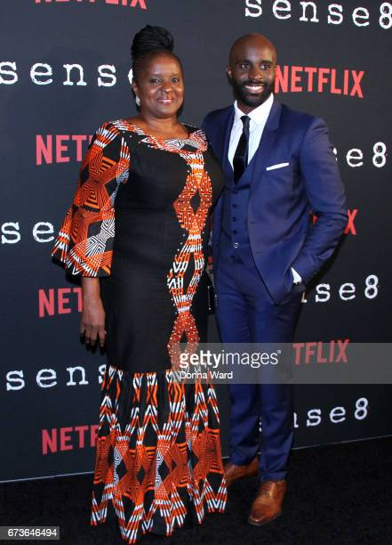 Toby Onwumere and his mother attend the 'Sense8' New York Premiere at AMC Lincoln Square Theater on April 26 2017 in New York City