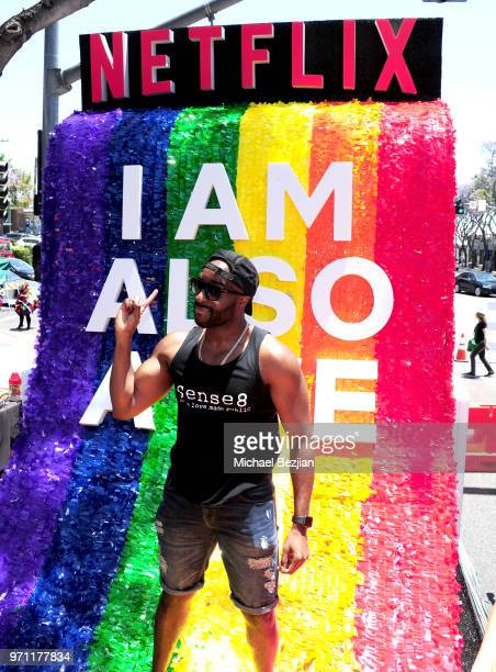 Toby Onwumere is seen on the Netflix original series Sense8 float at the Los Angeles Pride Parade on June 10 2018 in West Hollywood California