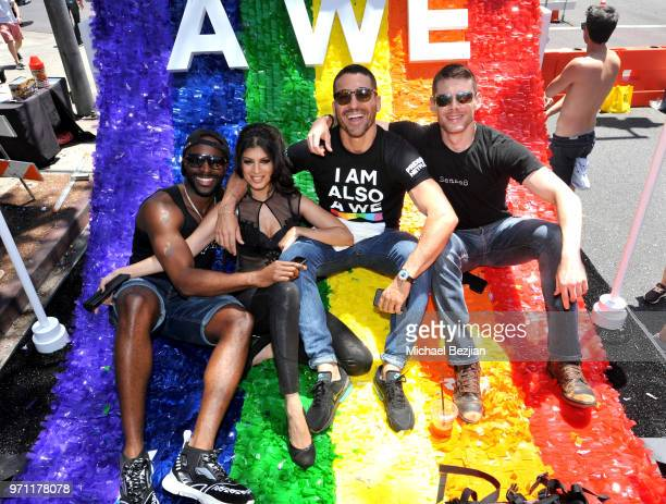 Toby Onwumere Tina Desai Miguel Angel Silvestre and Brian J Smith are seen on the Netflix original series Sense8 float at the Los Angeles Pride...