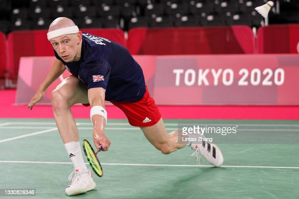 Toby Penty of Team Great Britain competes against Kai Schaefer of Team Germany during a Men's Singles Group K match on day four of the Tokyo 2020...