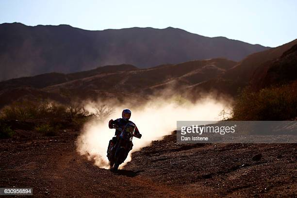 Toby Price of Australia and Red Bull KTM Team rides a 450 Rally Replica bike in the Elite ASO during stage three of the 2017 Dakar Rally between San...