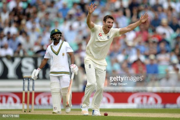 Toby RolandJones of England appeals and dismisses Temba Bavuma lbw during the fifth day of the 3rd Investec Test match between England and South...