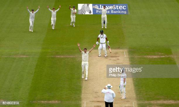 Toby RolandJones of England appeals and dismisses Vernon Philander of South Africa during the fifth day of the 3rd Investec Test match between...