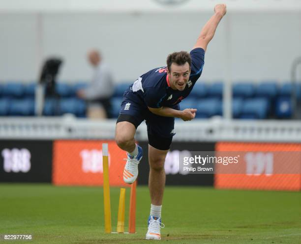 Toby RolandJones of England bowls during a training session before the 3rd Investec Test match between England and South Africa at the Kia Oval on...