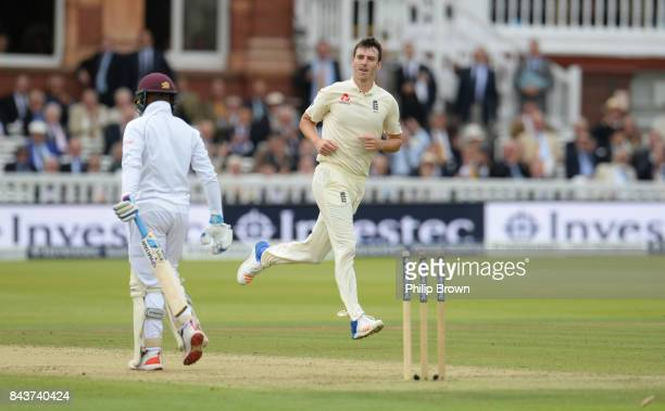 Toby RolandJones of England celebrates after bowling Jermaine Blackwood of the West Indies during the third cricket test between England and the West...