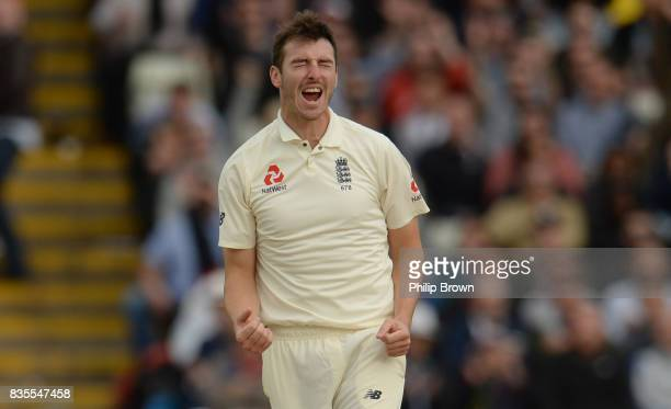 Toby RolandJones of England celebrates after dismissing Kyle Hope during the third day of the 1st Investec Test match between England and the West...