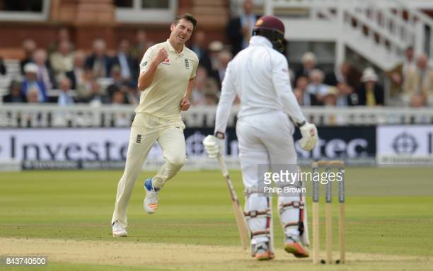 Toby RolandJones of England celebrates after dismissing Shai Hope of the West Indies during the third cricket test between England and the West...