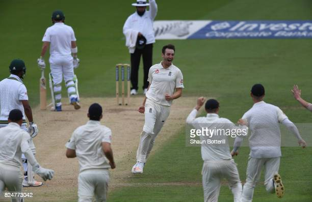 Toby Roland-Jones of England celebrates after taking the wicket of Vernon Philander of South Africa during day five of the 3rd Investec Test match...