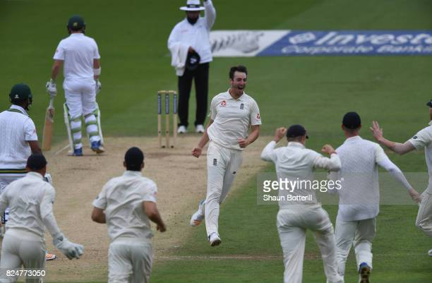 Toby RolandJones of England celebrates after taking the wicket of Vernon Philander of South Africa during day five of the 3rd Investec Test match...