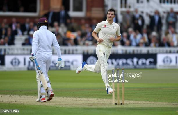 Toby RolandJones of England celebrates bowling Jermaine Blackwood of the West Indies during day one of the 3rd Investec Test match between England...