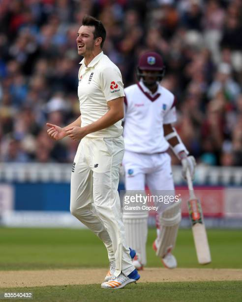 Toby RolandJones of England celebrates dismissing Kyle Hope of the West Indies during day three of the 1st Investec Test between England and the West...