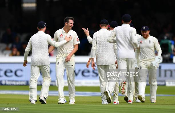 Toby RolandJones of England celebrates taking the wicket of Shai Hope of the West Indies during day one of the 3rd Investec Test Match between...