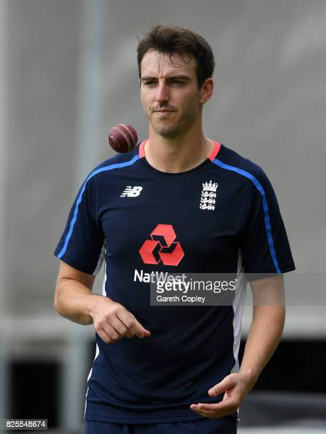 Toby RolandJones of England during a nets session at Old Trafford on August 2 2017 in Manchester England