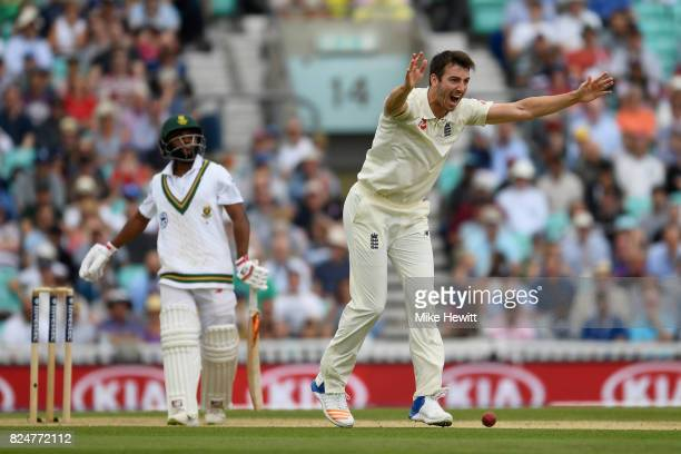 Toby RolandJones of England traps Temba Bavuma of South Africa lbw during the 3rd Investec Test between England and South Africa at The Kia Oval on...