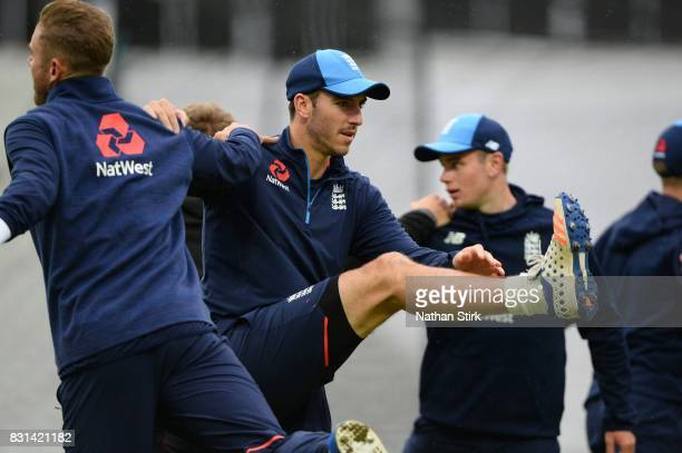 Toby RolandJones of England warms up during the England Net Session at Edgbaston on August 14 2017 in Birmingham England