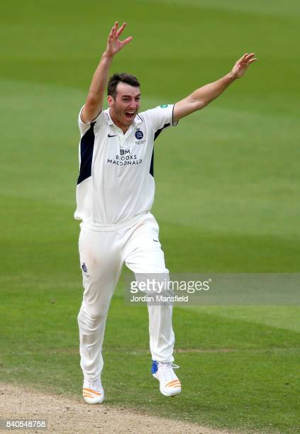 Toby RolandJones of Middlesex appeals unsuccessfully during day two of the Specsavers County Championship Division One match between Surrey and...