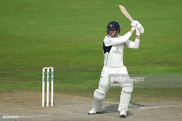 Toby RolandJones of Middlesex bats during day four of the Specsavers County Championship Division One match between Lancashire and Middlesex at Old...