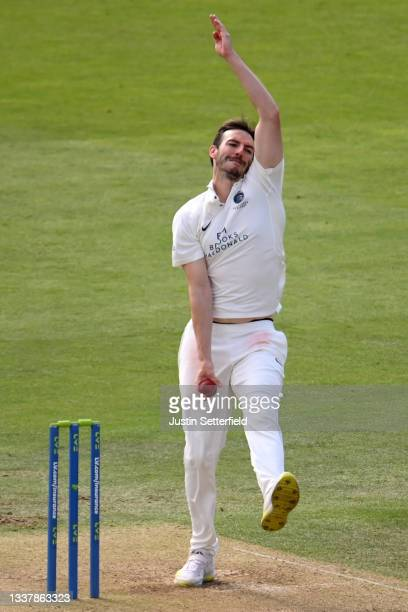 Toby Roland-Jones of Middlesex bowls during Day four of the LV= Insurance County Championship between Middlesex and Derbyshire at Lord's Cricket...