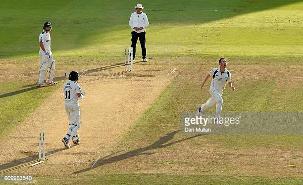 Toby RolandJones of Middlesex celebrates bowling Ryan Sidebottom of Yorkshire to win the match during day four of the Specsavers County Championship...