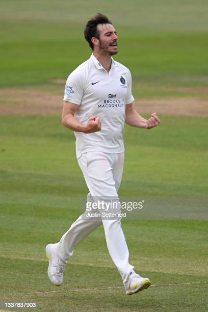 Toby Roland-Jones of Middlesex celebrates taking the wicket of Alex Hughes of Derbyshire during Day four of the LV= Insurance County Championship...