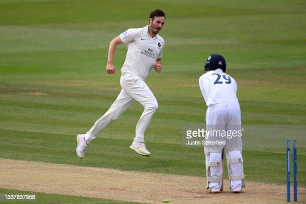 Toby Roland-Jones of Middlesex celebrates taking the wicket of Brooke Guest of Derbyshire during Day four of the LV= Insurance County Championship...