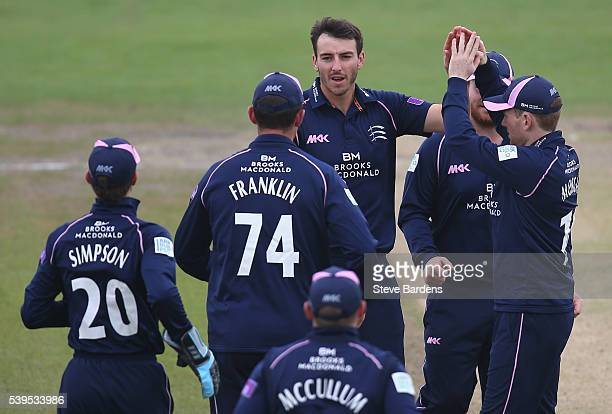 Toby RolandJones of Middlesex celebrates taking the wicket of Chris Nash of Sussex with his team mates during the Royal London One Day Cup match...