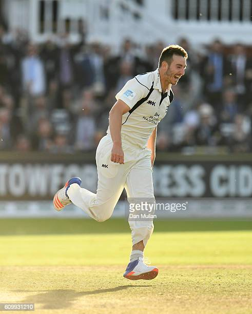 Toby RolandJones of Middlesex celebrates taking the wicket of Ryan Sidebottom of Yorkshire to win the match during day four of the Specsavers County...