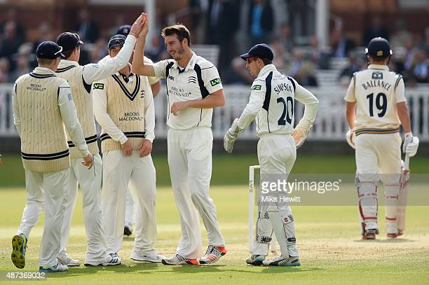 Toby RolandJones of Middlesex celebrates with team mates after trapping Gary Ballance of Yorkshire lbw during the LV County Championship match...