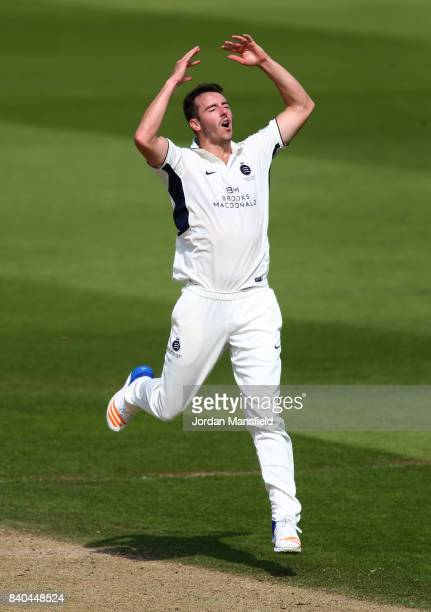Toby RolandJones of Middlesex reacts during day two of the Specsavers County Championship Division One match between Surrey and Middlesex at The Kia...
