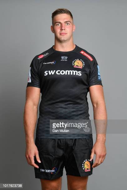 Toby Salmon of Exeter Chiefs poses for a portrait during the Exeter Chiefs squad photo call for the 201819 Gallagher Premiership Rugby season at...