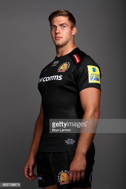 Toby Salmon of Exeter Chiefs poses for a portrait during the Exeter Chiefs squad photo call for the 20172018 Aviva Premiership Rugby season on August...