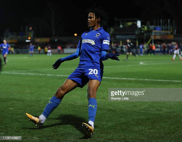 Toby Sibbick of AFC Wimbledon celebrates after scoring his team's fourth goal during the FA Cup Fourth Round match between AFC Wimbledon and West Ham...