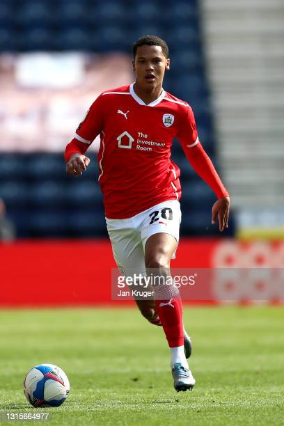 Toby Sibbick of Barnsley during the Sky Bet Championship match between Preston North End and Barnsley at Deepdale on May 01, 2021 in Preston,...