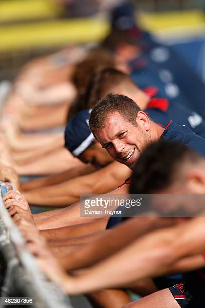 Toby Smith stretches before a Melbourne Rebels Super Rugby training session at Visy Park on January 27 2015 in Melbourne Australia