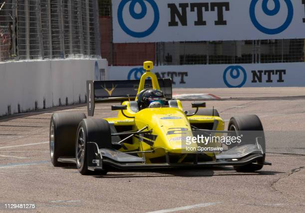 Toby Sowery Takes 2nd in race 1 during the Indy Lights Race of St Petersburg on March 9 at the Streets of St Petersburg in St Petersburg FL