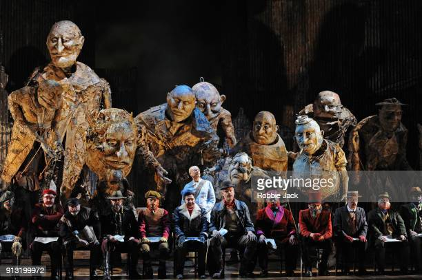 Toby Spence as MKGandhi with artists of the company in English National Opera's production of Philip Glass's Satyagraha at The London Coliseum on...