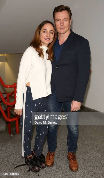 Toby Stephens and Lydia Leonard backstage after a performance of 'Oslo' at Lyttelton Theatre on September 19 2017 in London England