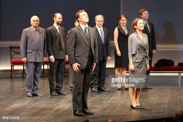 Toby Stephens and Lydia Leonard during the curtain call after a performance of 'Oslo' at Lyttelton Theatre on September 19 2017 in London England