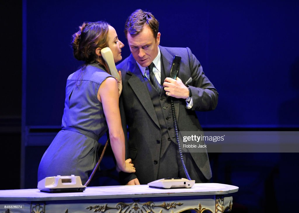 Toby Stephens as Terje Larsen and Lydia Leonard as Mona Juul in J.T.Rogers's Oslo directed by Bartlett Sher at The National Theatre on September 8, 2017 in London, England.