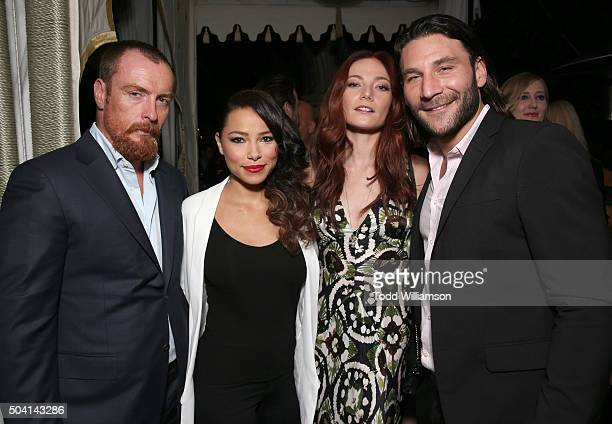Toby Stephens Jessica Parker Kennedy Clara Paget and Zach McGowan attend the Starz PreGolden Globe Celebration at Chateau Marmont on January 8 2016...
