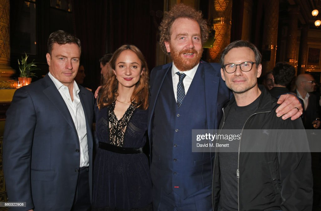 Toby Stephens, Lydia Leonard, producer Adam Speers and Christian Slater attend the press night after party for 'Oslo' at The Royal Horseguards on October 11, 2017 in London, England.