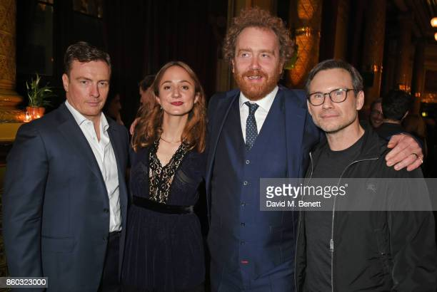Toby Stephens Lydia Leonard producer Adam Speers and Christian Slater attend the press night after party for 'Oslo' at The Royal Horseguards on...