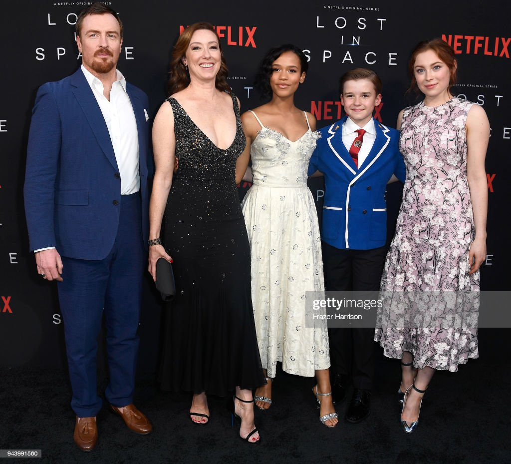 Toby Stephens, Molly Parker, Taylor Russell, Maxwell Jenkins, and Mina Sundwall attend the premiere of Netflix's 'Lost In Space' Season 1 at The Cinerama Dome on April 9, 2018 in Los Angeles, California.