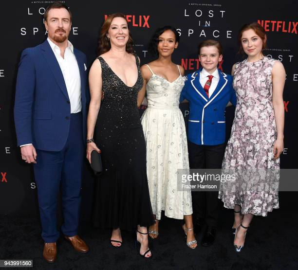 Toby Stephens Molly Parker Taylor Russell Maxwell Jenkins and Mina Sundwall attend the premiere of Netflix's Lost In Space Season 1 at The Cinerama...