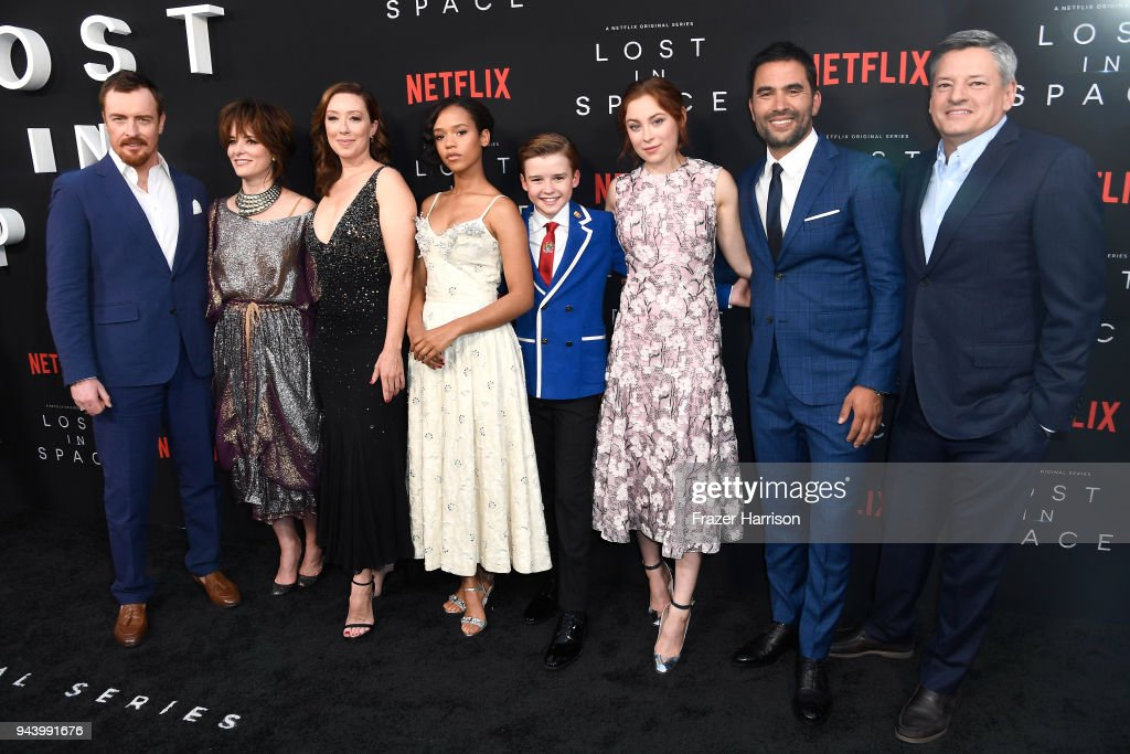 Toby Stephens, Parker Posey, Molly Parker, Taylor Russell, Maxwell Jenkins, Mina Sundwall, Ignacio Serricchio, and Netflix CCO Ted Sarandos attend the premiere of Netflix's 'Lost In Space' Season 1 at The Cinerama Dome on April 9, 2018 in Los Angeles, California.
