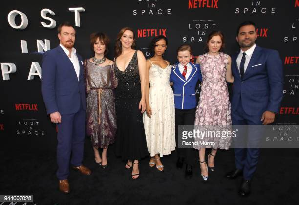Toby Stephens Parker Posey Molly Parker Taylor Russell Maxwell Jenkins Mina Sundwall and Ignacio Serricchio attend Netflix's 'Lost In Space' Los...