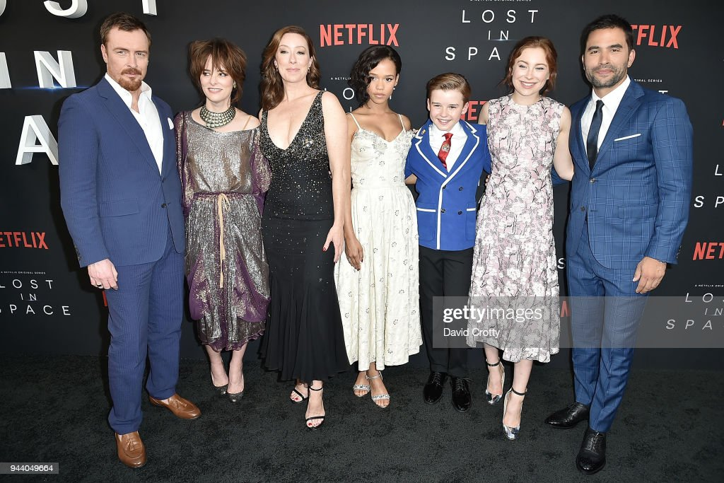 Toby Stephens, Parker Posey, Molly Parker, Taylor Russell, Maxwell Jenkins, Mina Sundwall, and Ignacio Serricchio attend the 'Lost In Space' Season 1 Premiere at ArcLight Cinerama Dome on April 9, 2018 in Hollywood, California.