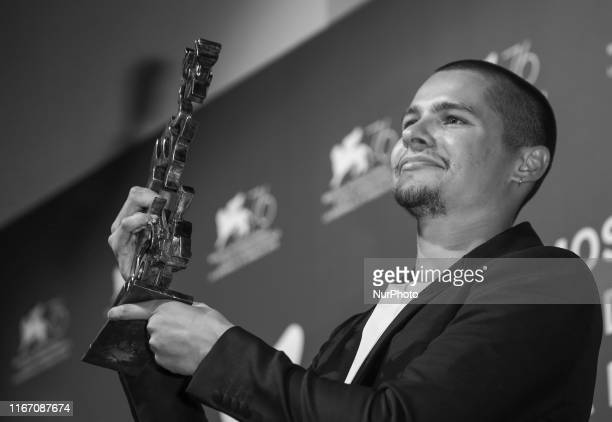 Image was converted to black and white Toby Wallace poses with the Marcello Mastroianni Award for Best Young Actor for quotBabyteethquot at the...